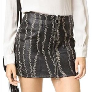 Free People NWOT Black Leather Zip Front Skirt